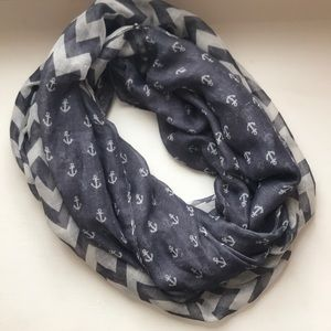 Navy and White Anchor Chevron Infinity Scarf